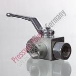 PPG HD-Kugelhahn; 3-Wege- L-Form,G 1/4-19 , DN 6, PN 400 bar; brüniert
